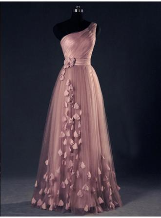 A-Line/Princess One-Shoulder Floor-Length Evening Dresses With Flower(s)