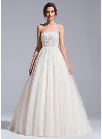 Ball-Gown Strapless Chapel Train Wedding Dresses With Beading Appliques Lace Sequins