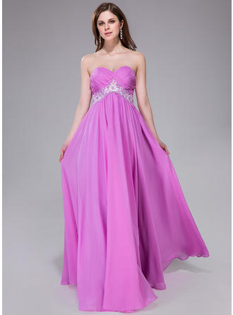 Empire Sweetheart Floor-Length Prom Dresses With Ruffle Sash Beading Appliques Lace Sequins