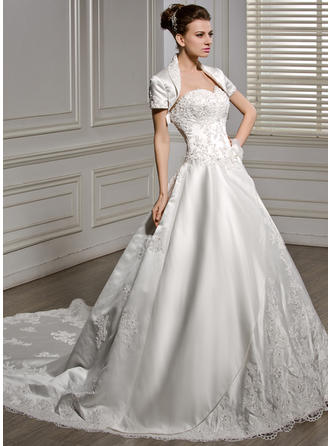 Ball-Gown Sweetheart Cathedral Train Wedding Dresses With Beading Appliques Lace Flower(s) Sequins