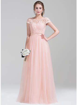 A-Line/Princess Scoop Neck Floor-Length Tulle Prom Dresses With Bow(s)
