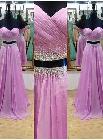 A-Line/Princess Sweetheart Sweep Train Detachable Prom Dresses With Ruffle Beading