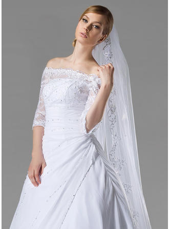Cathedral Bridal Veils Tulle One-tier Oval/Drop Veil With Lace Applique Edge Wedding Veils