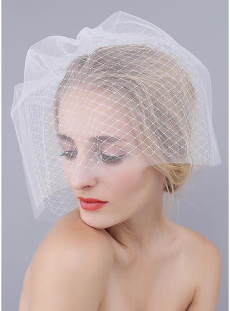 Blusher Veils Tulle With Cut Edge White/Ivory Ivory/Red/Champagne/Black Wedding Veils