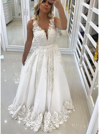 A-Line/Princess Tulle Prom Dresses Lace Beading V-neck Sleeveless Sweep Train