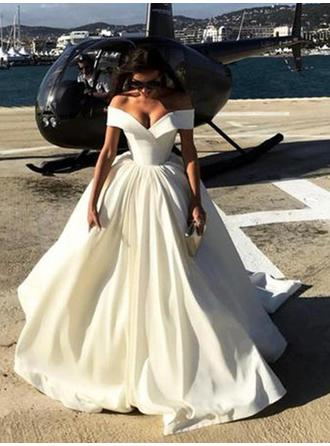 Ball-Gown Off-The-Shoulder Sweep Train Wedding Dresses With Ruffle