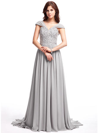 A-Line/Princess Chiffon Prom Dresses Ruffle Lace Beading Sequins V-neck Sleeveless Sweep Train
