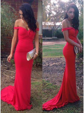 Sheath/Column Jersey Prom Dresses Off-the-Shoulder Sleeveless Sweep Train