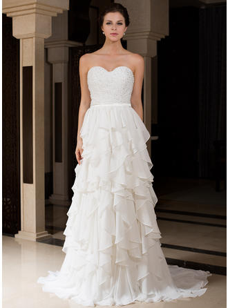 A-Line/Princess Sweetheart Sweep Train Wedding Dresses With Beading Cascading Ruffles