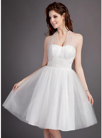 Halter A-Line/Princess Wedding Dresses Tulle Ruffle Lace Sleeveless Knee-Length