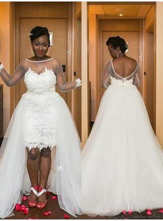 A-Line/Princess Tulle Long Sleeves Scoop Asymmetrical Court Train Wedding Dresses