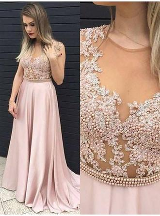 A-Line/Princess Satin Prom Dresses Beading Appliques Lace Scoop Neck Sleeveless Sweep Train