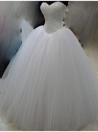 Ball-Gown Sweetheart Floor-Length Wedding Dresses With Beading Sequins