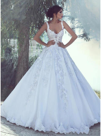 Ball-Gown V-neck Sweep Train Wedding Dresses With Appliques