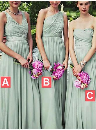 A-Line/Princess Sweetheart One-Shoulder V-neck Floor-Length Bridesmaid Dresses With Ruffle