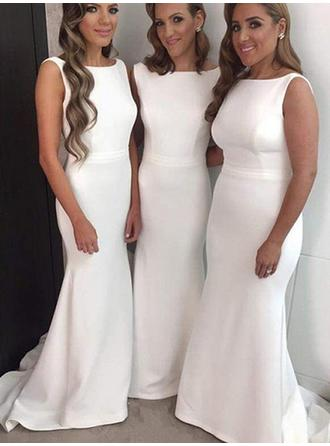 Trumpet/Mermaid Satin Bridesmaid Dresses Scoop Neck Sleeveless Sweep Train