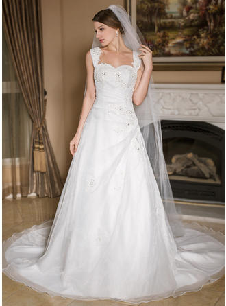 Cathedral Bridal Veils Tulle One-tier Drop Veil With Pencil Edge Wedding Veils