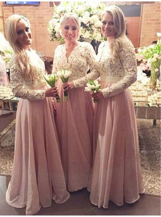 A-Line/Princess Chiffon Lace Bridesmaid Dresses Beading V-neck Long Sleeves Floor-Length