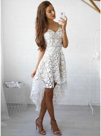 A-Line/Princess V-neck Asymmetrical Lace Cocktail Dresses