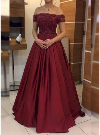 Ball-Gown Off-the-Shoulder Floor-Length Prom Dresses With Appliques