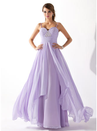 A-Line/Princess Sweetheart Floor-Length Prom Dresses With Ruffle Beading