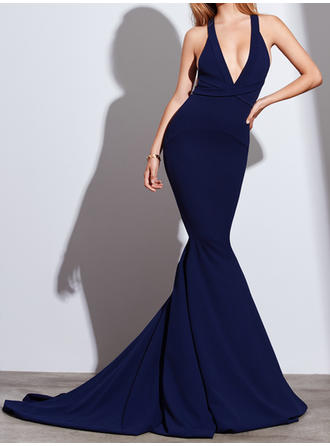 Trumpet/Mermaid V-neck Court Train Stretch Crepe Prom Dresses