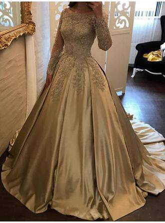Ball-Gown Off-the-Shoulder Sweep Train Prom Dresses With Appliques Lace