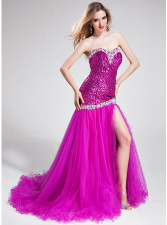 Trumpet/Mermaid Sweetheart Court Train Prom Dresses With Beading Split Front