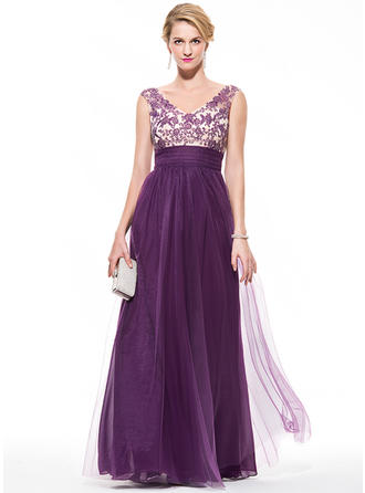 Empire V-neck Floor-Length Prom Dresses With Ruffle Beading Appliques Lace Sequins