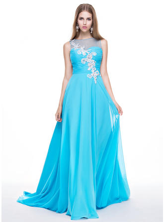 A-Line/Princess Chiffon Prom Dresses Ruffle Beading Appliques Lace Sequins Scoop Neck Sleeveless Sweep Train