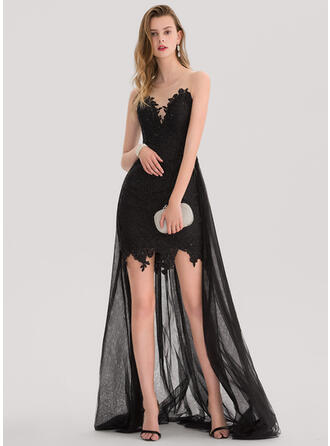 A-Line Scoop Neck Asymmetrical Prom Dresses