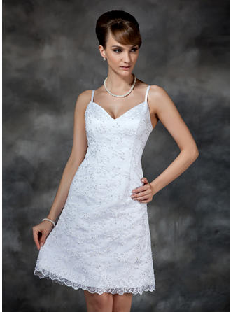Sheath/Column Sweetheart Knee-Length Wedding Dresses With Beading Sequins