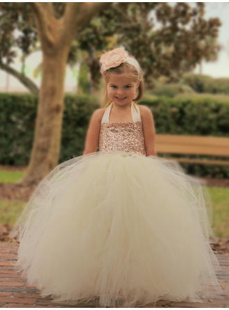 Newest Halter Ball Gown Flower Girl Dresses Floor-length Tulle/Sequined Sleeveless