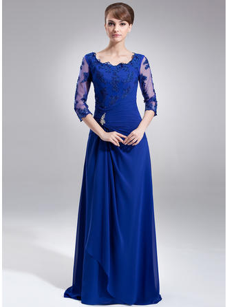 A-Line/Princess Chiffon 3/4 Sleeves Square Neckline Sweep Train Zipper Up Mother of the Bride Dresses