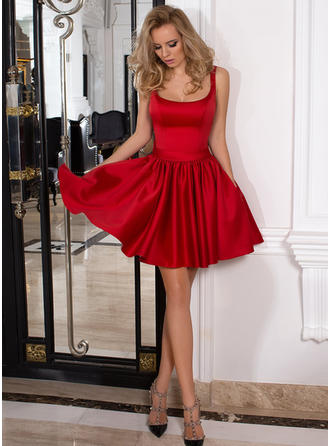 A-Line/Princess Square Neckline Short/Mini Satin Homecoming Dresses With Ruffle
