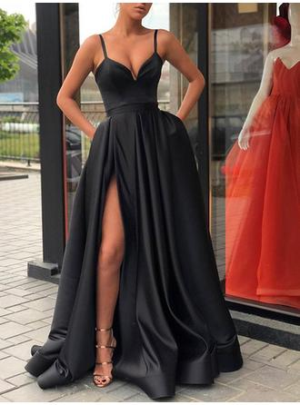 A-Line/Princess V-neck Sweep Train Prom Dresses With Split Front