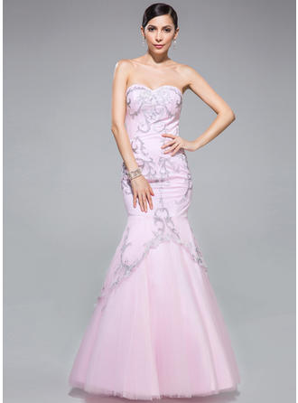 Trumpet/Mermaid Sweetheart Floor-Length Prom Dresses With Embroidered