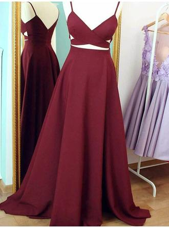 A-Line/Princess V-neck Sweep Train Prom Dresses With Ruffle