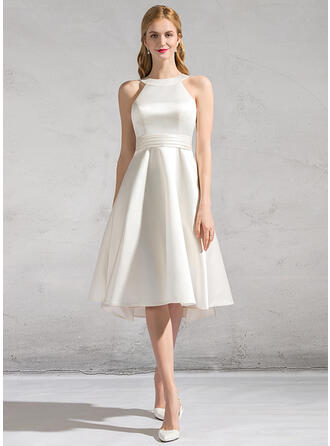 A-Line Scoop Neck Knee-Length Satin Wedding Dress With Ruffle Bow(s)