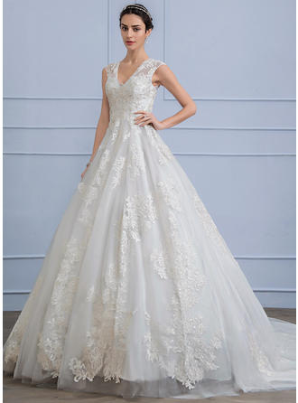 Ball-Gown V-neck Chapel Train Lace Wedding Dress With Beading Sequins