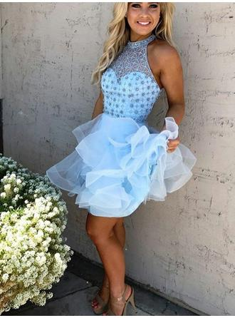 A-Line/Princess High Neck Short/Mini Organza Homecoming Dresses With Beading