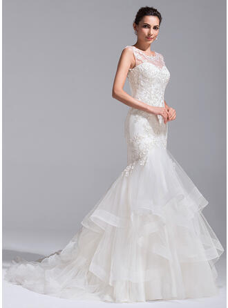 Trumpet/Mermaid Illusion Court Train Tulle Lace Wedding Dress With Cascading Ruffles