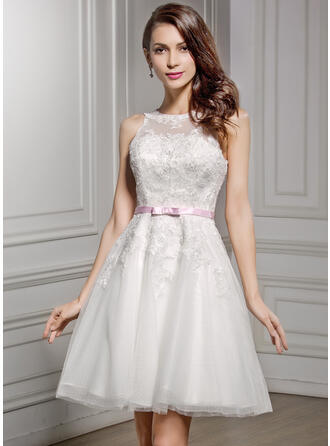 A-Line Illusion Knee-Length Lace Wedding Dress With Sash Bow(s)