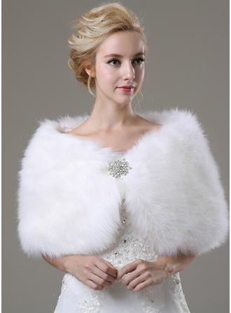 Shawl Fashion Faux Fur With Rhinestones Other Colors Wraps
