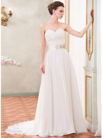 A-Line/Princess Sweetheart Court Train Wedding Dresses With Ruffle Sash Beading Sequins