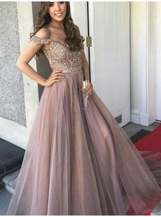 A-Line/Princess Off-the-Shoulder Floor-Length Prom Dresses With Beading