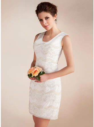 Simple Scoop Sheath/Column Wedding Dresses Short/Mini Chiffon Sleeveless