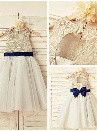 A-Line/Princess Scoop Neck Tea-length With Sash/Bow(s) Tulle/Lace Flower Girl Dresses