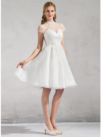 High Neck A-Line/Princess Wedding Dresses Organza Lace Appliques Lace Short Sleeves Knee-Length