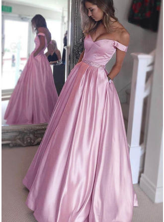 A-Line/Princess Floor-Length Prom Dresses Off-the-Shoulder Satin Sleeveless